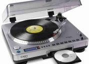 Toca discos ion lp2cd c/ gravador de cd, auxiliar e conexão p/ pc via usb