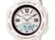 relogio casio feminino solar branco analogic digital luz led