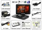 Portable dvd player tela 11 toca cd,dvd usb ou sd / mmc / ms e tv e games e faz copia - [m