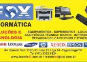 Produtos, locação, suporte técnico e recarga de cartuchos e toner's