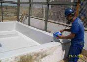 Impermeabilização co fibra de vidro em tanques de concreto em geral
