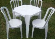 Aluguel de mesas e cadeiras de plastico festas eventos