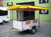 carretinha reboque para lanches e hot dog completa com equipamentos - carrinho treiler