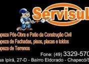 PrestaÇÃo de serviÇos em chapecÓ 3329 57 08 , limpeza e manutenÇÃo