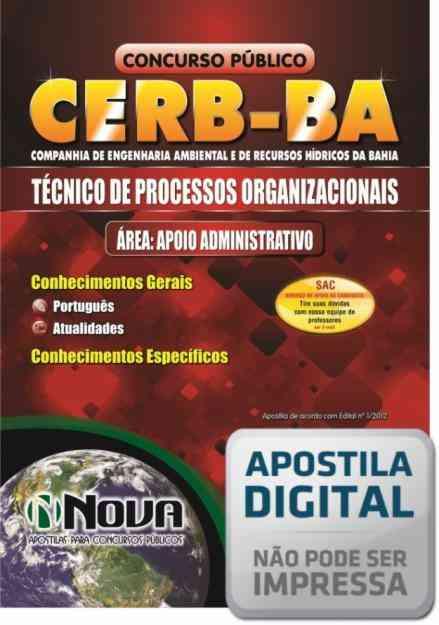 Apostila Digital Concurso Técnico - Apoio Administrativo CERB - BA