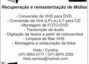 Conversão de vhs para dvd - k7 para vinil - montagem e restauração de fotos