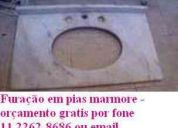 FuraÇÃo em pias de granito e marmore para instalaÇÃo de torneira