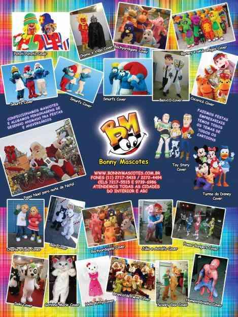 personagens e mascotes pra festas e aniversários