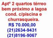Iguaba apartamento terreo 2 qtos bem prÓximo a praia