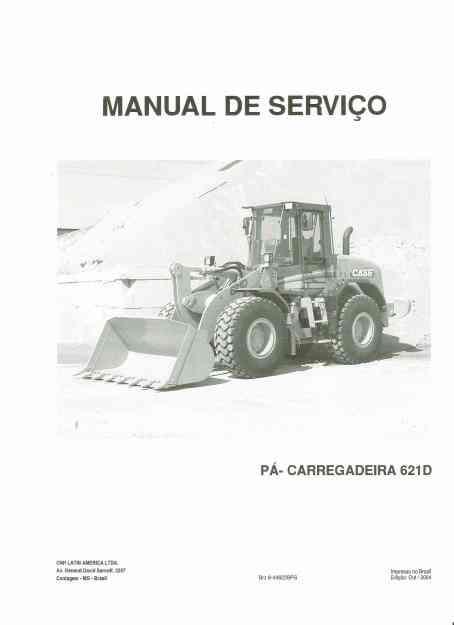 Manual de serviço pa -carregadeira Case 621D em cd-rom