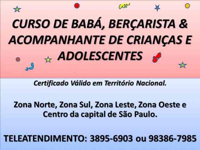 CURSO DE BABA BERCARISTA RECREACIONISTA ESCOLAR BABY SITTER SP METRO